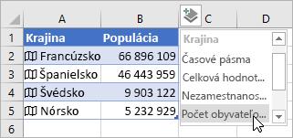 Pridaný druhý stĺpec údajov
