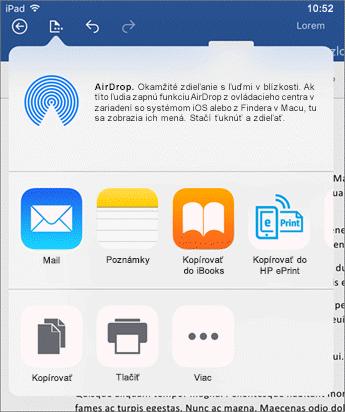 V dialógovom okne Otvoriť v inej aplikácii môžete odoslať dokument do inej aplikácie na poštu, tlač alebo zdieľanie.