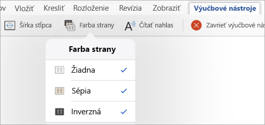 Zobrazujú sa možnosti Farba strany na karte Výučbové nástroje