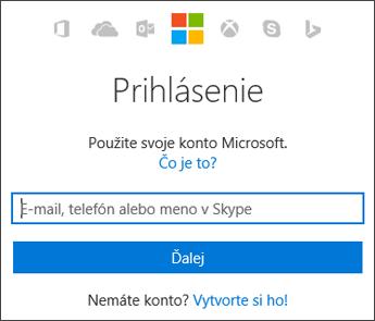 Snímka obrazovky s prihlasovacou stránkou Moje konto, kde zadáte konto Microsoft, ktoré používate s balíkom Office