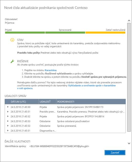 Snímka obrazovky so stránkou podrobností o sledovaní správ zobrazujúca príklad, ako môžu podrobnosti o sledovaní správ vyzerať.