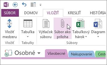 Vloženie súboru ako prílohy na vytvorenie kópie súboru v programe OneNote