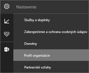Snímka obrazovky sponukou Nastavenia avybratým profilom organizácie