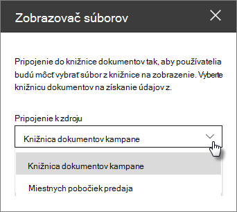 Tabla vlastností zobrazovača súborov s rozbaľovacím zoznamom pripojiť k zdroju