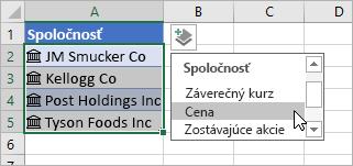 Kliknutie kurzorom na tlačidlo Pridať stĺpec a výber položky Cena zo zoznamu polí