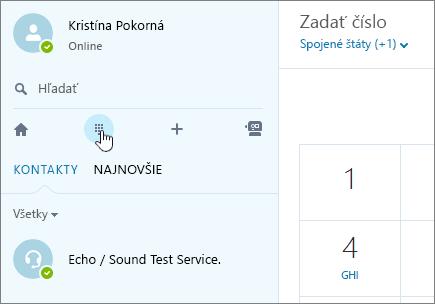 Snímka obrazovky zobrazujúca miesto na uskutočnenie telefónneho hovoru cez Skype