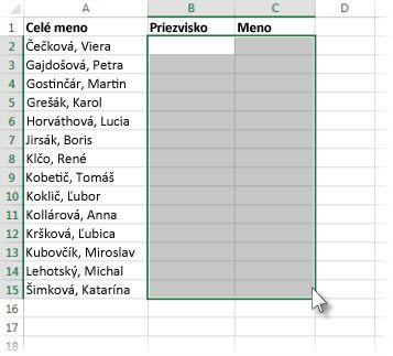 Vyberte bunky, do ktorých chcete prilepiť rozdelené bunky
