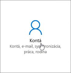 V časti Nastavenia Windowsu prejdite na položku Kontá