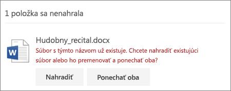 """Chyba """"Názov súboru už existuje"""" vo webovom používateľskom rozhraní OneDriveu"""