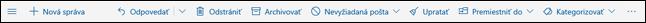 Panel s nástrojmi správy v službe Outlook.com