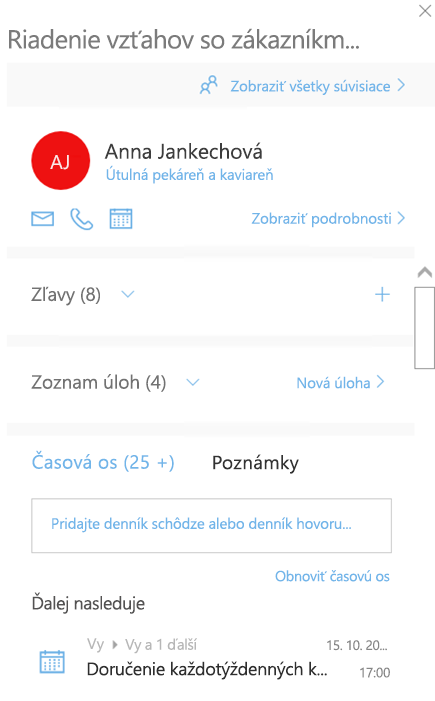 Uvítacia obrazovka Outlook Customer Managera