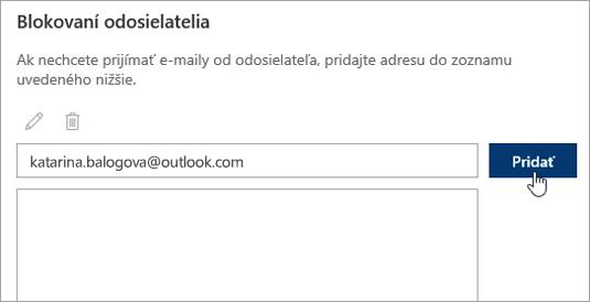 Snímka obrazovky s oknom s blokovanými odosielateľmi