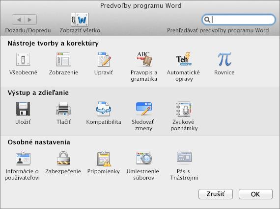 Predvoľby programu Word