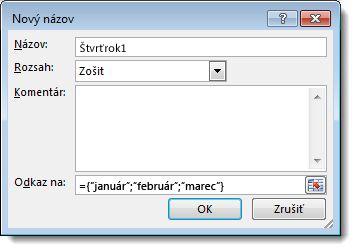 Dialógové okno Nový názov