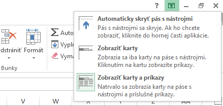 Po kliknutí na ikonu Možnosti zobrazenia pása s nástrojmi sa otvorí ponuka.