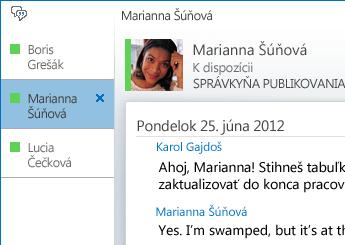 Snímka obrazovky zobrazujúca konverzáciu na kartách