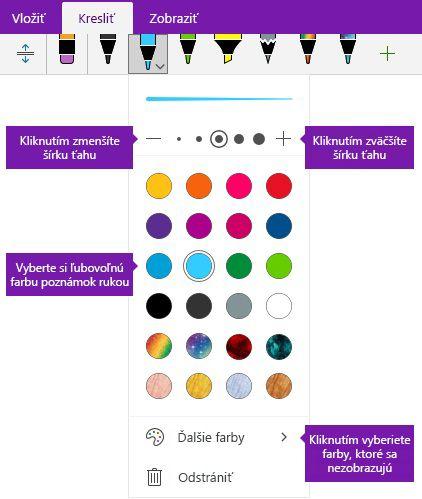 Možnosti písania rukou ťahu perom šírky a farby vo OneNote pre Windows 10
