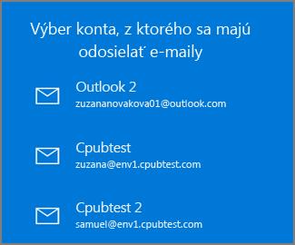 Vyberte konto na odoslanie e-mailu z