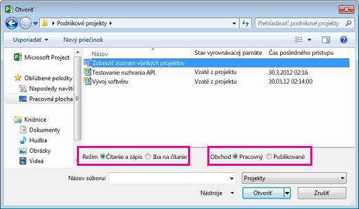 Dialógové okno Otvoriť so súbormi webovej aplikácie