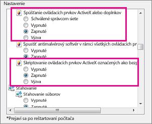 Povolenie načítania aspustenia ovládacích prvkov ActiveX v Internet Exploreri