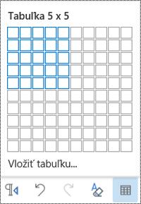 Mriežka tabuľky v Outlooku na webe.