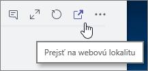 Snímka obrazovky s ponukou kanála aplikácie Teams s ikonou Prejsť na webovú lokalitu