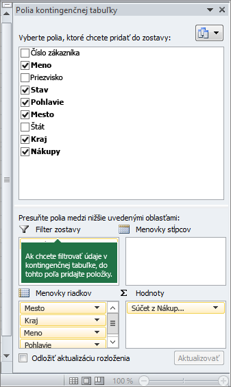 Filter Zostava na table Zoznam polí kontingenčnej tabuľky