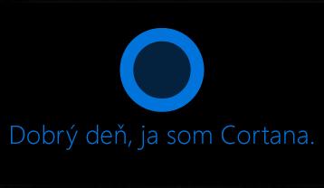 "Logo Cortany a slová ""Ahoj. Ja som Cortana. """