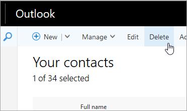 Snímka obrazovky s tlačidlom Odstrániť pod navigačným panelom Outlooku.