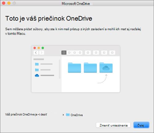 Snímka obrazovky so stránkou Toto je váš priečinok OneDrive v sprievodcovi Víta vás OneDrive v Macu