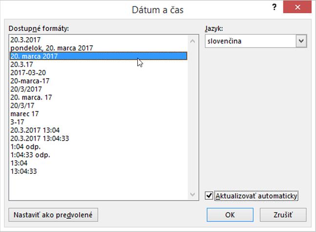 Začiarkavacie políčko Výber aktualizácie automaticky