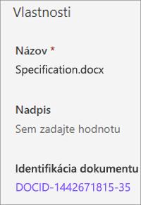 IDENTIFIKÁCIA dokumentu zobrazená na table s podrobnosťami
