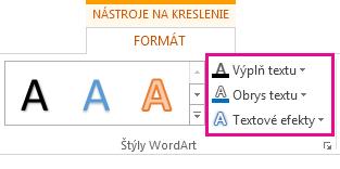 Skupina Štýly WordArt na karte Nástroje na kreslenie – Formát