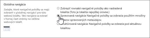 Nastavenia globálnej navigácie s vybratou položkou Spravovaná navigácia