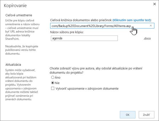 Dialógové okno kopírovania svybratou URL adresou