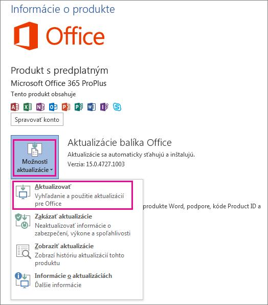 Manuálna kontrola aktualizácií balíka Office vo Worde 2013