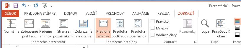 Tlačidlo Predloha snímky sa nachádza na karte Zobraziť na páse s nástrojmi.