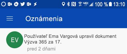 Získanie oznámení v centre oznámení Androidu pri colleages úprav zdieľaných súborov