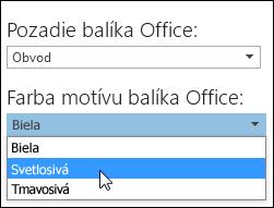 Výber iného motívu balíka Office