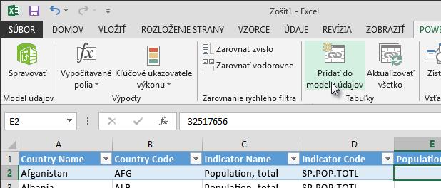 Pridanie nových údajov do dátového modelu