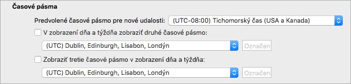 Druhý a tretí časové pásmo sa zobrazuje v kalendári predvoľby