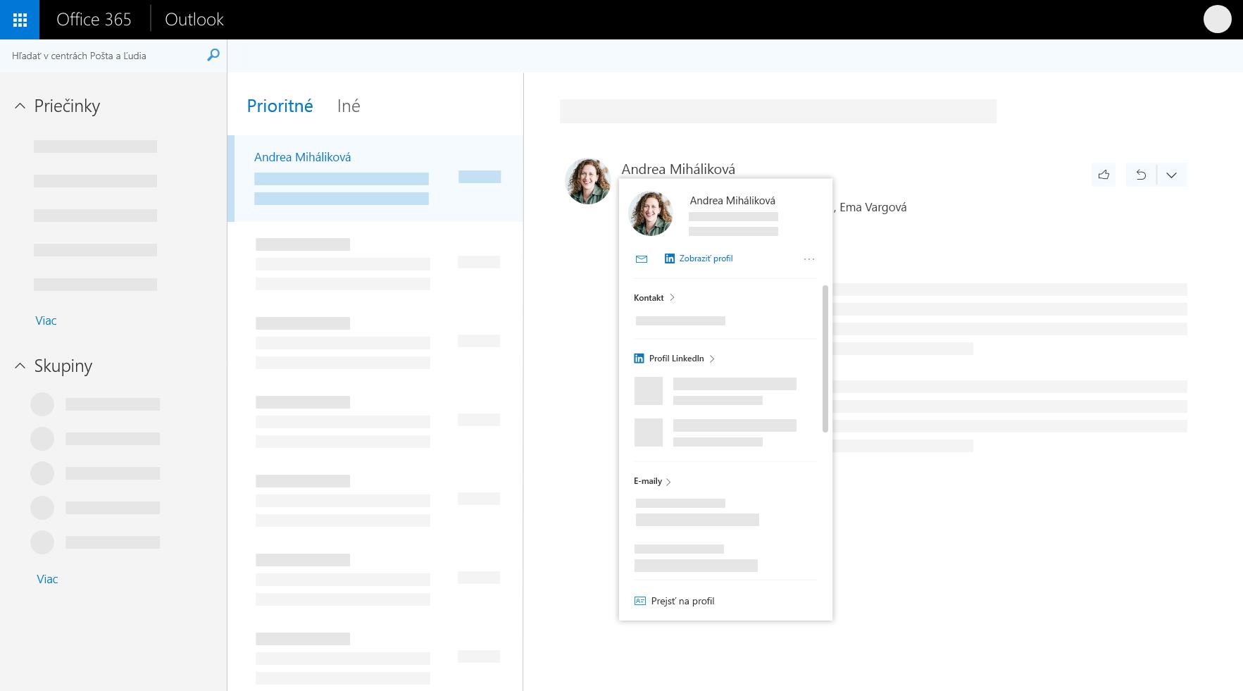 Karta profilu v Outlooku na webe