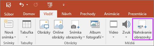 Zobrazuje tlačidlo na vloženie nahrávania obrazovky vPowerPointe 2016