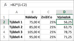 Príklad zobrazujúci zníženie sumy opercento