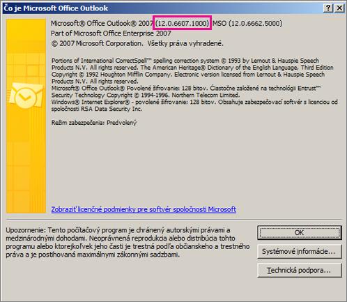 Snímka obrazovky, ktorá znázorňuje, kde sa vdialógovom okne Čo je Microsoft Office Outlook zobrazí číslo verzie Outlook 2007.