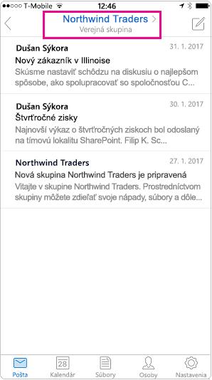 Konverzácie v mobilnom zobrazení programu Outlook s hlavičkou zvýraznenou