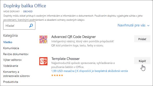 Snímka obrazovky s stránke doplnkov balíka Office, kde môžete vybrať alebo vyhľadať add-in pre Word.