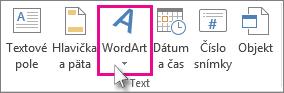 Kliknite na položku pridať objekt WordArt