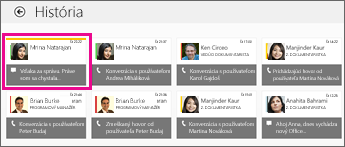 Snímka obrazovky dlaždice História so zobrazením viacerých okamžitých správ. Zmeškaná okamžitá správa je zvýraznená.