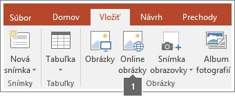 Snímka obrazovky s postupom pridávania online obrázkov do aplikácií balíka Office.